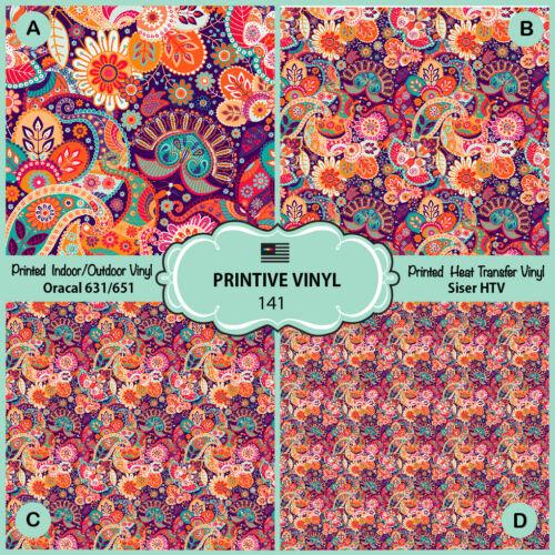 Oriental Paisley Pattern Printed HTV,Adhesive Vinyl-141