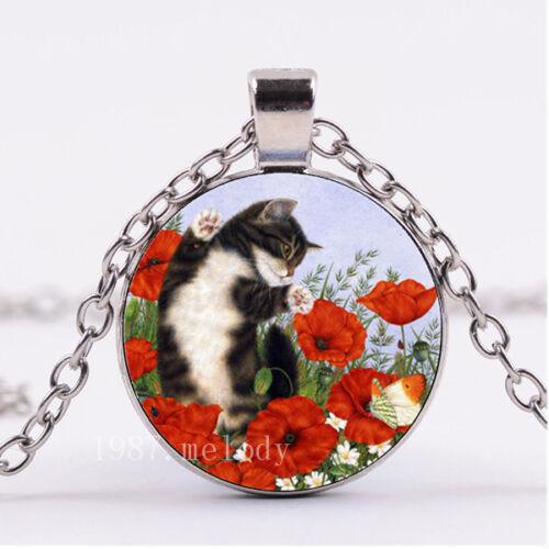 Photo Cabochon Silver Fashion Verre Collier Pendentif ( Poppy Flower, Lazy Cat