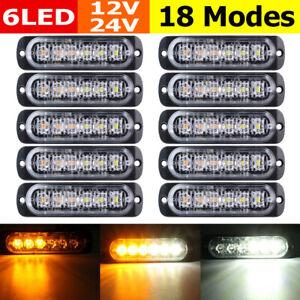 10-PCs-Recovery-Strobe-Flashing-Lights-White-Amber-6-LED-Emergency-Lamp-12V-24V