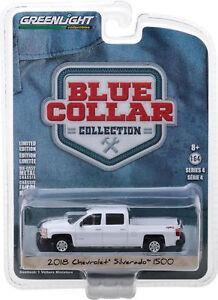 2018-Chevy-Silverado-Diecast-Truck-1-64-Greenlight-Blue-Collar-3-inch-WHITE