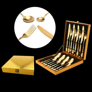 Stainless-Steel-Cutlery-Sets-Gold-Knife-Spoon-Forks-16pieces-Wedding-Party-Deco