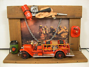 DECORATIVE-METAL-AND-WOOD-FIRE-TRUCK-WITH-DIORAMA-SCENE
