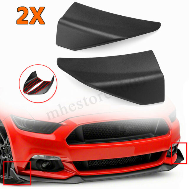 Pair Matte Black ABS Front Front Bumper Lip Splitter For Ford Mustang 2015-2017