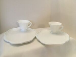 Indiana Colony Milk Glass Snack Sets Plate and Cup, Lots of 2 sets each, Vtg EUC