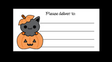 Kawaii Halloween Kitty Please Deliver To Pdt Shipping Address Labels Matte