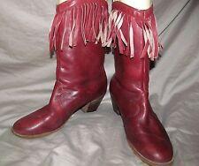 VINTAGE 1970s Rusty Reddish Brown Leather boots with Fringe details SANDLER 6.5