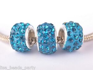 10pcs12x9mm-Rhinestone-Silver-Plated-European-Loose-Big-Hole-Beads-Peacock-Blue