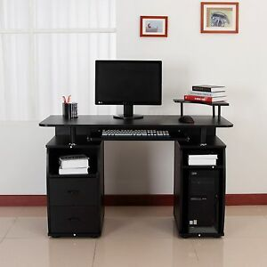 computer pc desk work station office home raised monitor printer rh ebay com  computer desk raised monitor shelf
