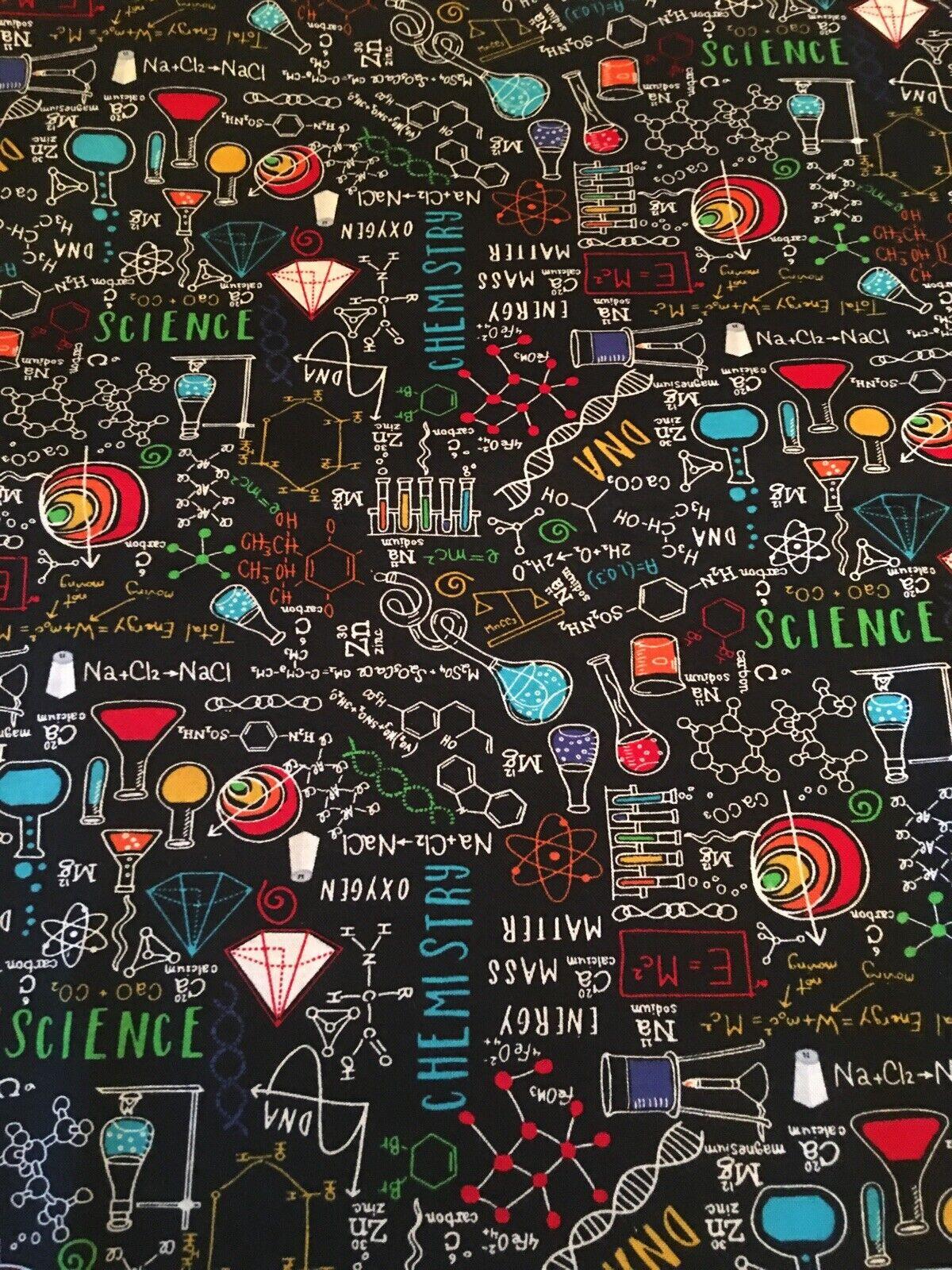 SCIENCE/ CHEMISTRY/ TEACHERS fabric! 1/4 Yard! New! 2