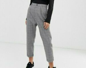 Unique21-Women-039-s-Grey-Check-Trousers-Size-12-New-With-Tags