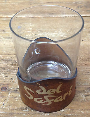 Leather Holder Clear Glass Mug Tumbler Del Safari Tumbler Country Club Las Vegas Ebay