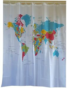 Modern world map fabric shower curtain new free shipping ebay image is loading modern world map fabric shower curtain new free gumiabroncs Images