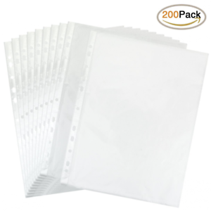 Details about Clear Plastic Sheet Page Protectors 200 Sleeves Acid Free  8-1/2x11in Document