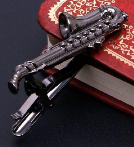 Estaño plata saxofón Corbata Barra Deslizante Clip Gemelos De Latón músico de música