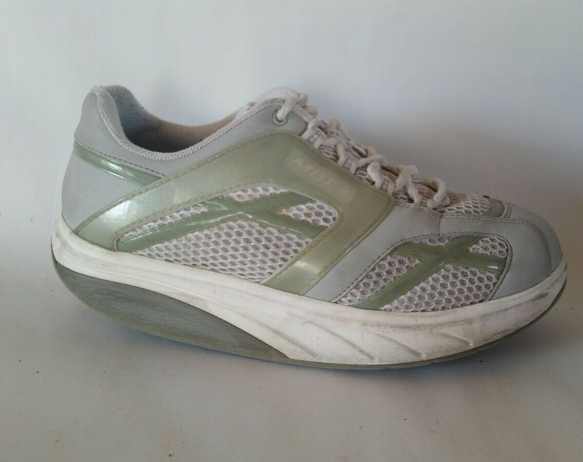 MBT Womens 8.5 M Walking shoes White Green Leather Tone Up Sneakers Get in Shape