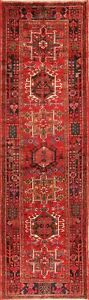 Excellent-Vintage-Tribal-Gharajeh-Geometric-Hand-Knotted-Runner-Rug-3x11-Carpet