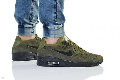 Men's Air Max 90 Ultra 2.0 Flyknit Casual Shoes, Green in Olive Black Cargo Khaki