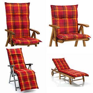 auflagen f r niederlehner hochlehner sessel relax liegen gartenbank rot kariert ebay. Black Bedroom Furniture Sets. Home Design Ideas