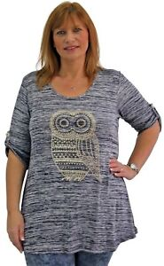 Ladies-Plus-Size-Womens-Curve-3-4-Sleeve-Diamante-Stud-Embellished-Owl-Tunic-Top