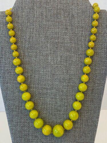 Vintage Chartreuse Bakelite  Strand Necklace.
