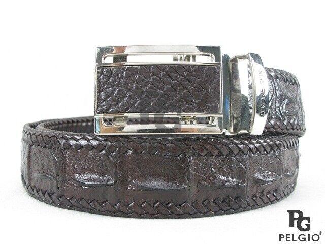 "PELGIO Genuine Crocodile Alligator Head Bump Skin Leather Men/'s Belt 46/"" Black"