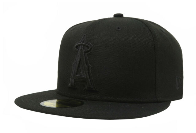 pretty nice 11422 94138 New Era 59Fifty Cap MLB Los Angeles Angels of Anaheim Mens Black on Black  Hat