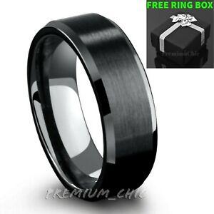 Black-Tungsten-Carbide-Mens-Engagement-Wedding-Band-Ring-Brushed-Center