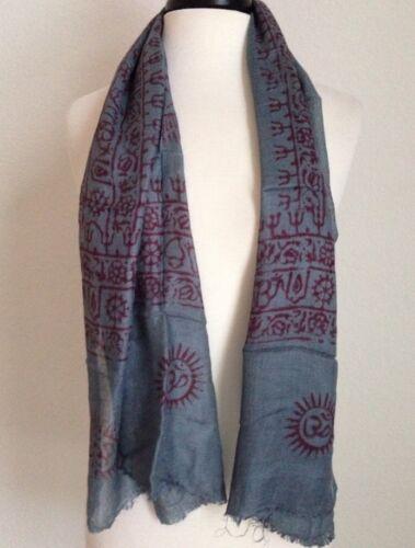 Om Hare Ram Yoga Meditation Prayer Gray Scarf Cotton Nepal Fair Trade Handmade