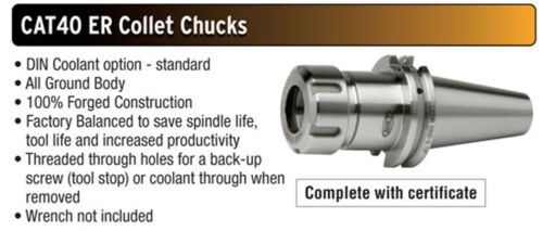 "ER32 CAT40 Sowa GS Premium Collet Chuck Balanced to 30,000 RPM 4.000/"" Projection"