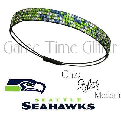 NWT Seattle Seahawks Team Color Womens Rhinestone Headband Wear w/ Your Jersey