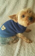 Hand knitted dog jumper / sweater for small dog chihuahua / mini yorkie. Navy