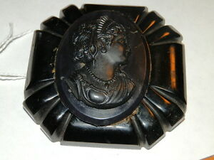 #166,Vintage Genuine Bakelite Superb Carved Black Victorian Lady Brooch