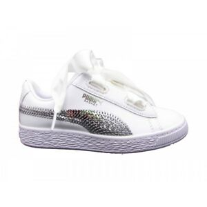 Details about Sports Shoes Girl Puma Basketball Heart PS Sequins White Leather 366848 02 show original title