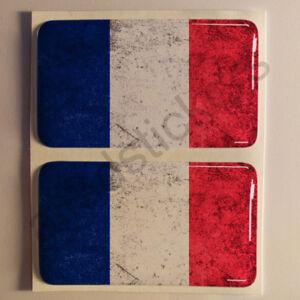 Pegatinas-Francia-Pegatina-Bandera-Manchada-Vieja-Adhesivo-3D-Relieve-Resina