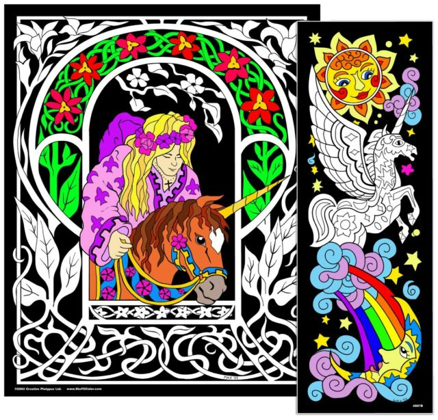 Unicorn Princess - Large 23x20 Inch Fuzzy Velvet Coloring Poster
