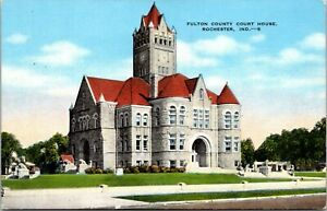 Fulton-County-Court-House-Rochester-Indiana-Linen-Postcard