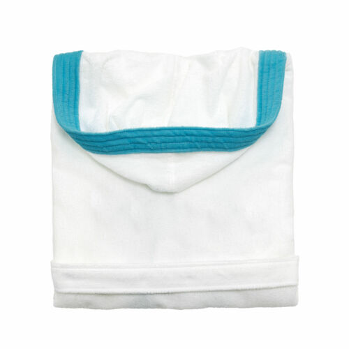 WHITE AND BLUE PERSONALIZED KID`S LAMINATED TERRY COTTON HOODED BATHROBE