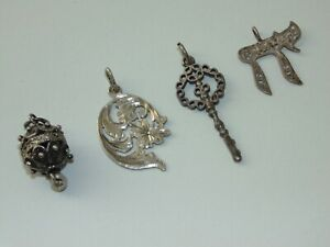 Vintage-Sterling-Silver-Filigree-Ball-French-Key-Art-Nouveau-Jewish-Chai-Pendant