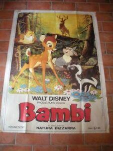 Bambi walt disney 1° edizione 1960 manifesto originale film cartone