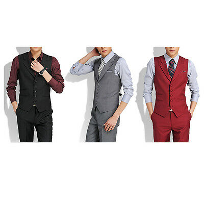 Formal Men's Slim Business Wedding Tuxedo Casual Suit Vest V-neck Waistcoat