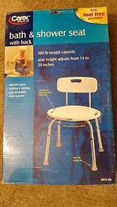Carex Adjustable Bath and Shower Seat with Back~White   eBay