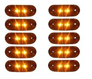 10x-12V-Orange-Begrenzungsleuchte-2-LED-Umrissleuchte-E-Pruef-Positionsleuchte