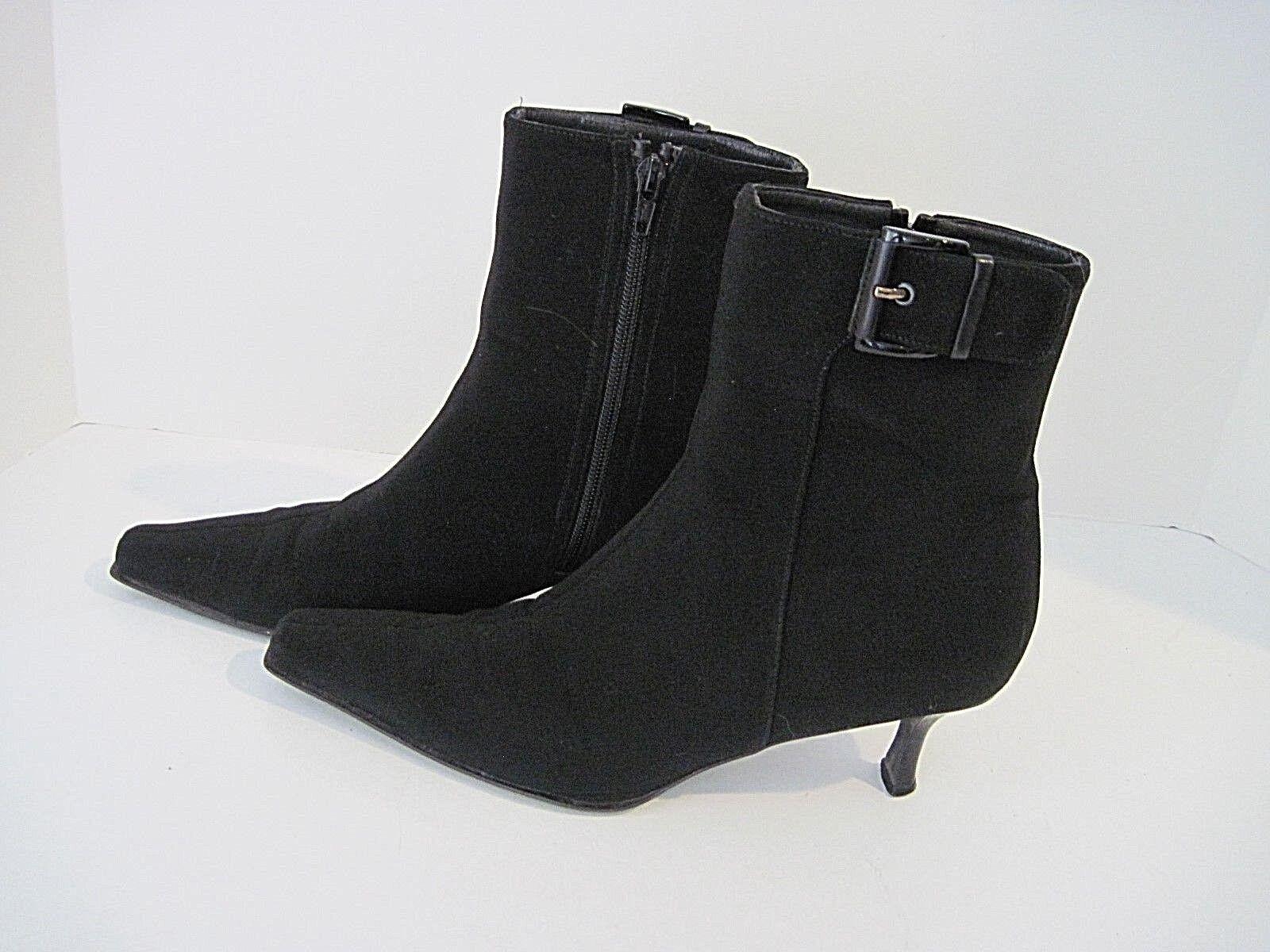 Stuart Weitzman Black Gore Tex Ankle Boots Kitten Heel Buckle Size Zip 8 1/2 M