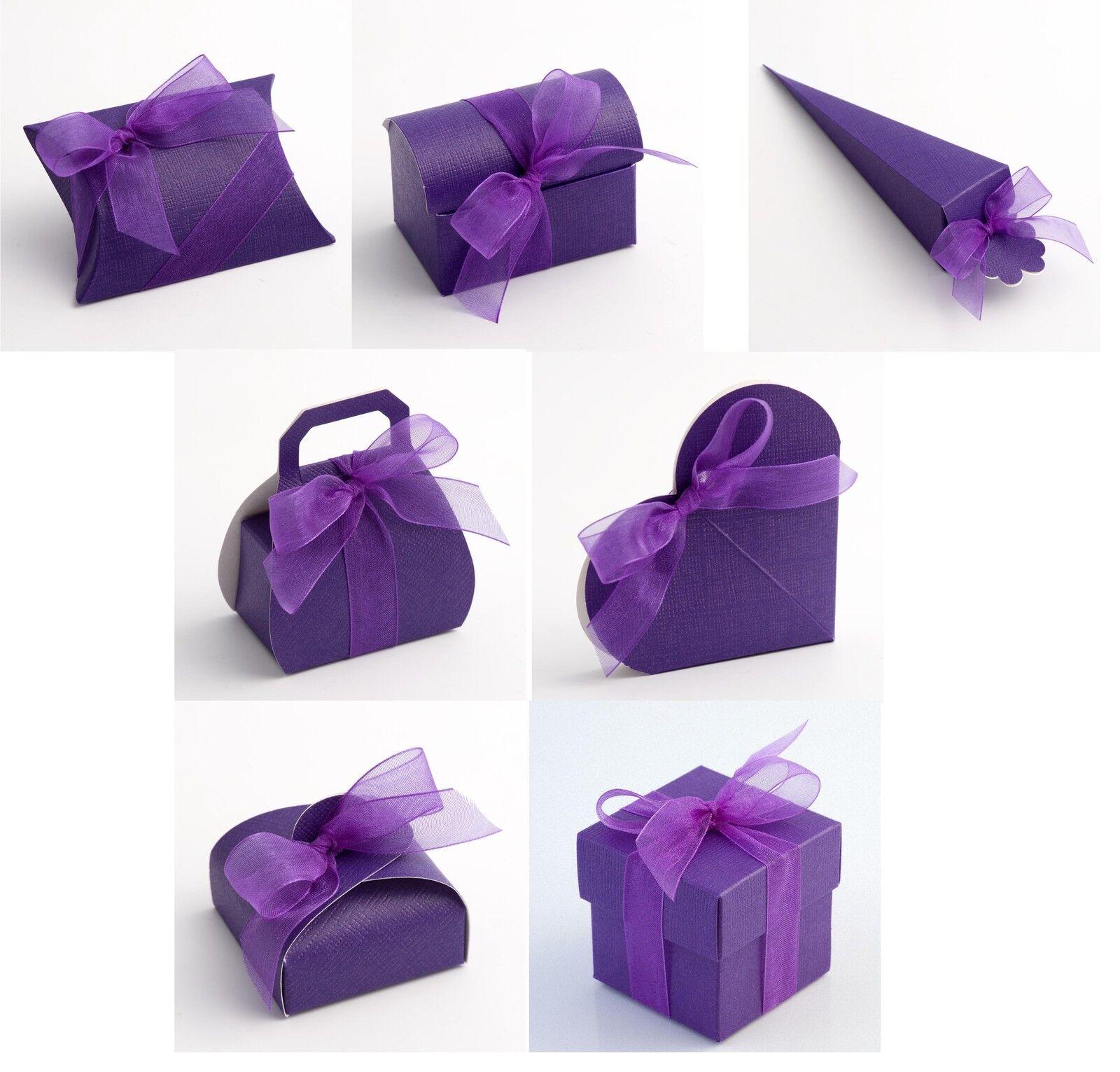 Luxury DIY Wedding Party Favour Gift Sweet Boxes - lila Silk Range