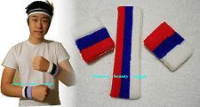 America Flag Style Red White blue stripe Sports HeadBand WristBand Sweatband set