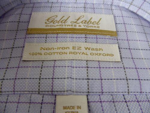 Roundtree /& Yorke Gold Label Non Iron EZ Wash Royal Oxford Plaid Dress Shirt NWT