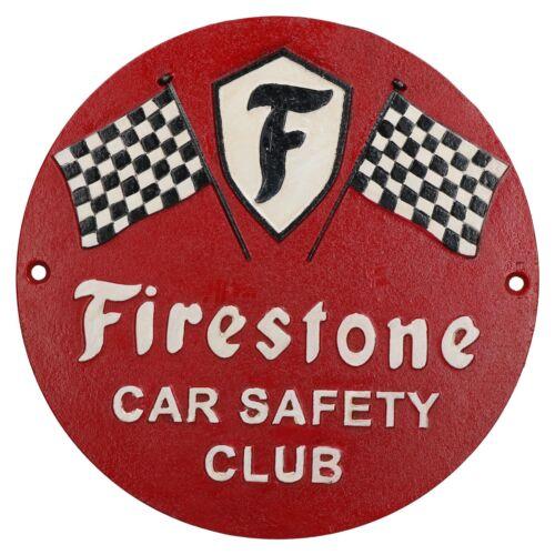 Firestone Car Safety Round Cast Iron Sign Plaque Wall Garage Workshop Shop
