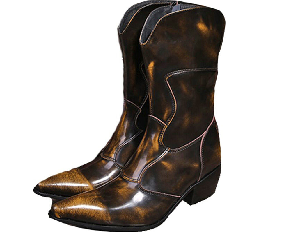 Fashion Size 5-12 Brown Genuine Leather Zip Tall Boots Cowboy Dress Mens shoes