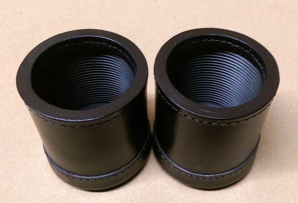 2 Tazas De Dados De Lujo De Cuero Negro