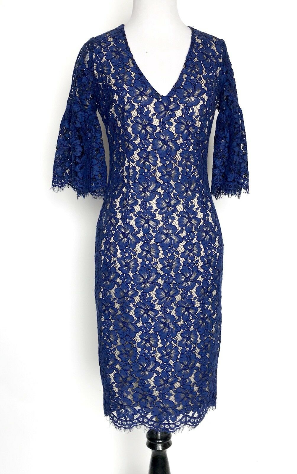 Alexia Admor bluee Lace Dress. Ruffle Bell Sleeve. Retail  Price  XS NWT